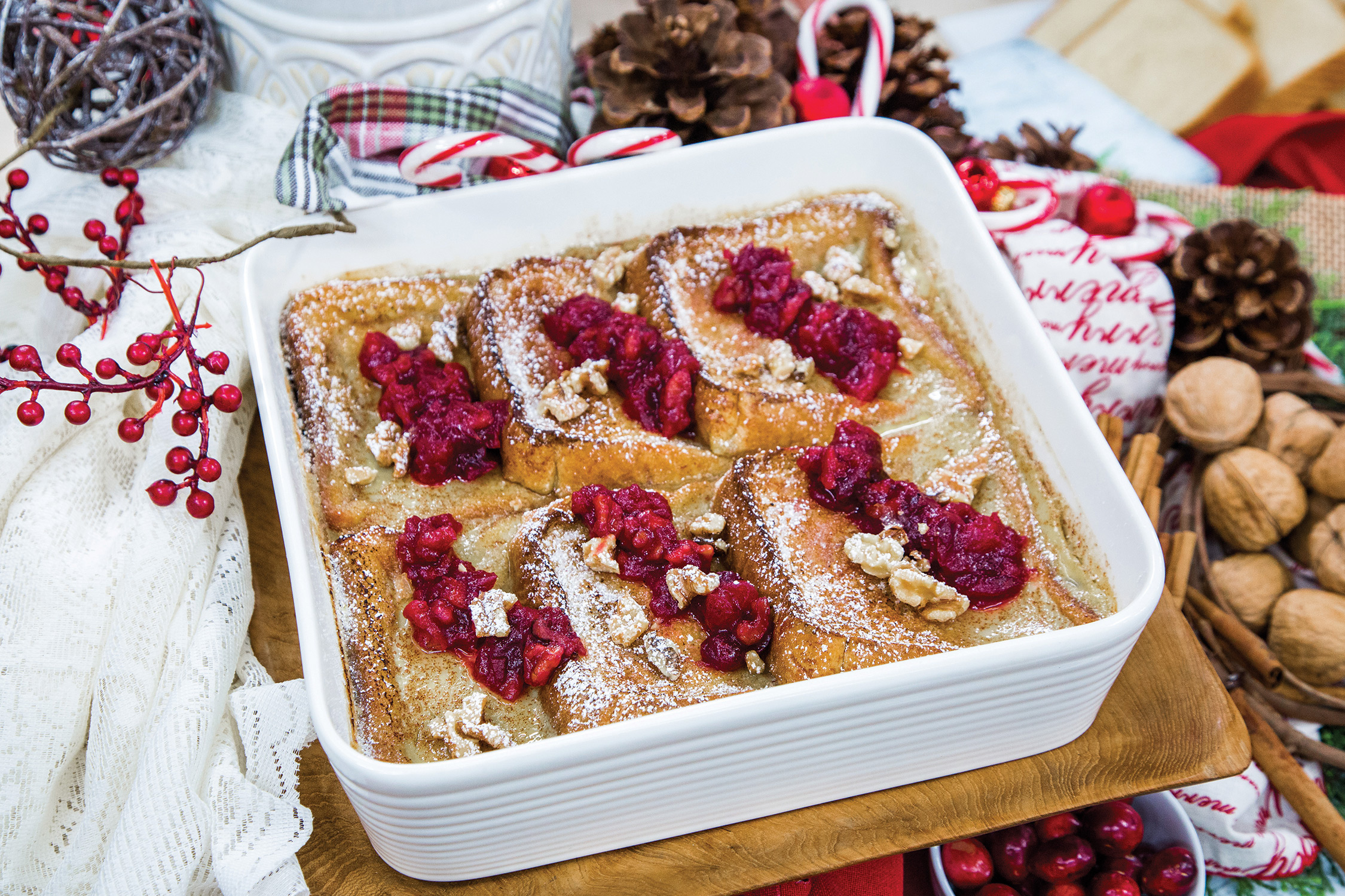 Overnight Walnut French Toast with Cranberry Walnut Ginger Compote
