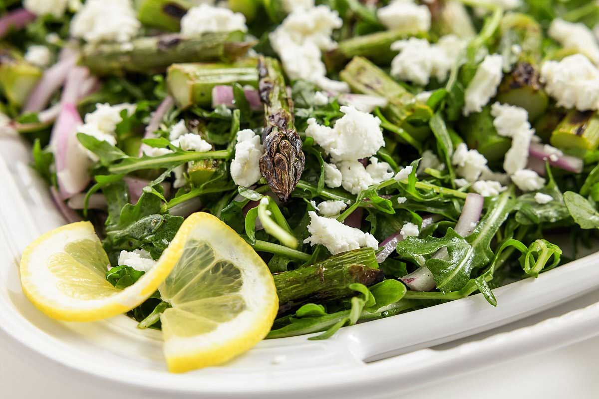 Grilled Asparagus Salad With Arugula & Goat Cheese